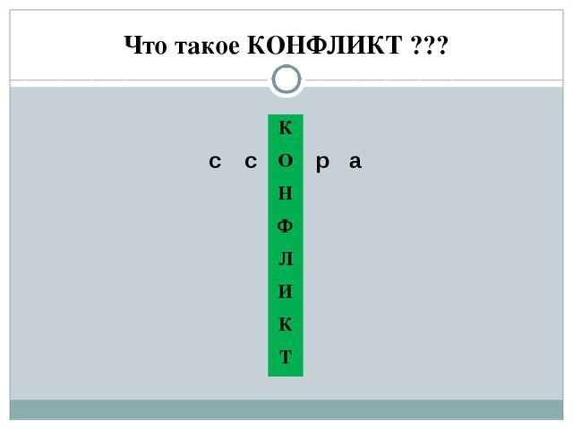 Что такое КОНФЛИКТ ??? с с р а К О Н...