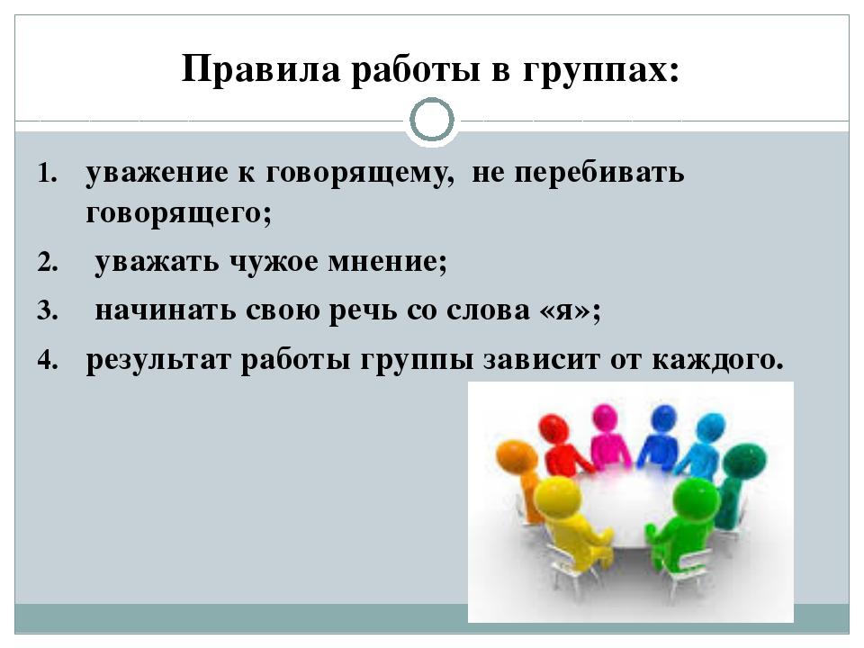 Правила работы в группах: уважение к говорящему, не перебивать говорящего; ув...