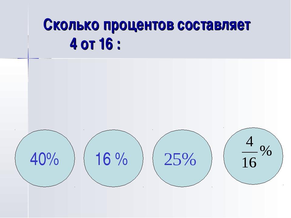 Сколько процентов составляет 4 от 16 : 40% 16 % 25%