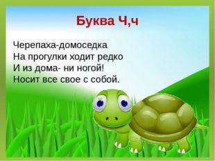 Буква Ч,ч Черепаха-домоседка На прогулки ходит редко И из дома- ни ногой! Нос