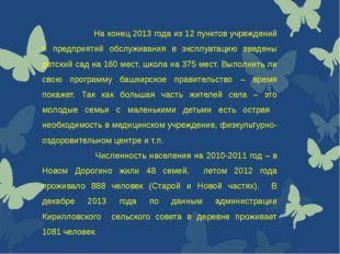 На конец 2013 года из 12 пунктов учреждений и предприятий обслуживания в экс