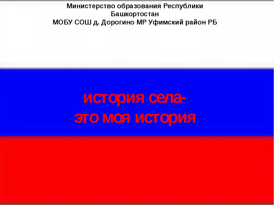 Министерство образования Республики Башкортостан МОБУ СОШ д. Дорогино МР Уфим...