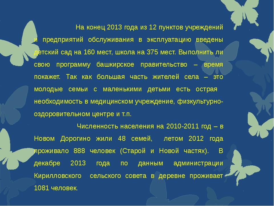 На конец 2013 года из 12 пунктов учреждений и предприятий обслуживания в экс...