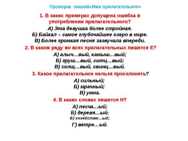 Проверка знаний«Имя прилагательное» 1. В каких примерах допущена ошибка в упо...