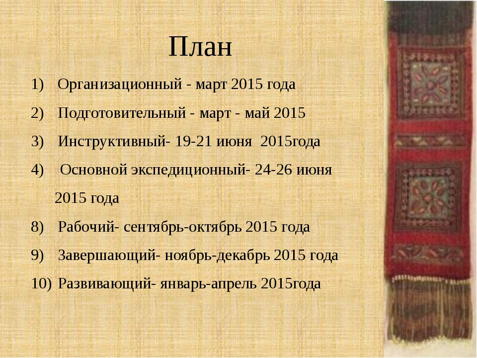 План Организационный - март 2015 года Подготовительный - март - май 2015 Инст...