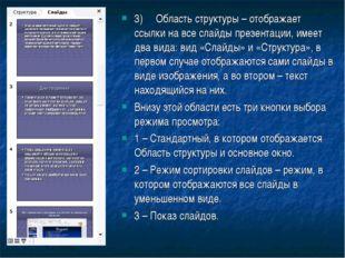3)Область структуры – отображает ссылки на все слайды презентации, имеет два