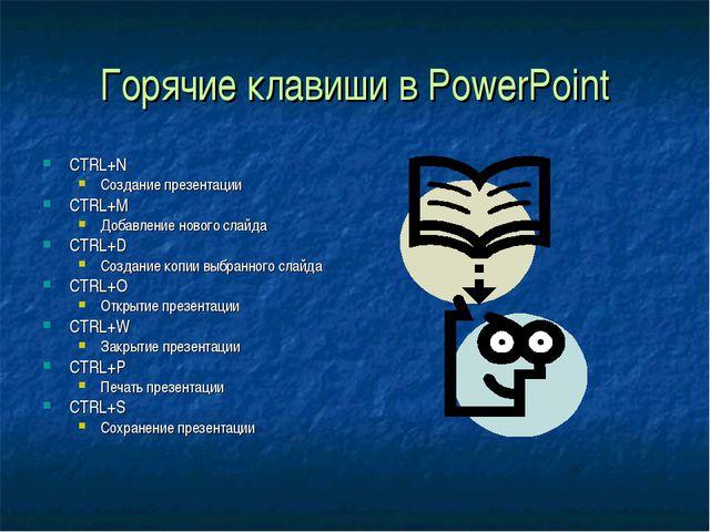 Горячие клавиши в PowerPoint CTRL+N Создание презентации CTRL+M Добавление но...