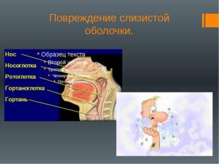 Повреждение слизистой оболочки.