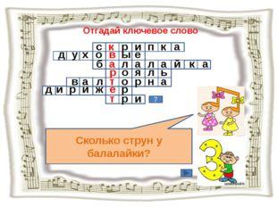 Отгадай ключевое слово Сколько струн у балалайки? 7 с к р и п к а д у х о в ы