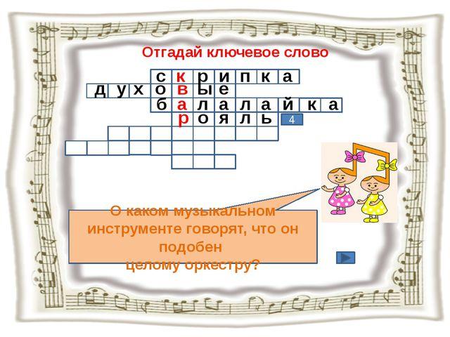 Отгадай ключевое слово О каком музыкальном инструменте говорят, что он подобе...