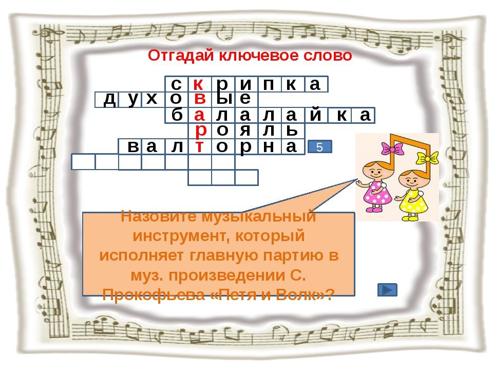 Отгадай ключевое слово Назовите музыкальный инструмент, который исполняет гла...