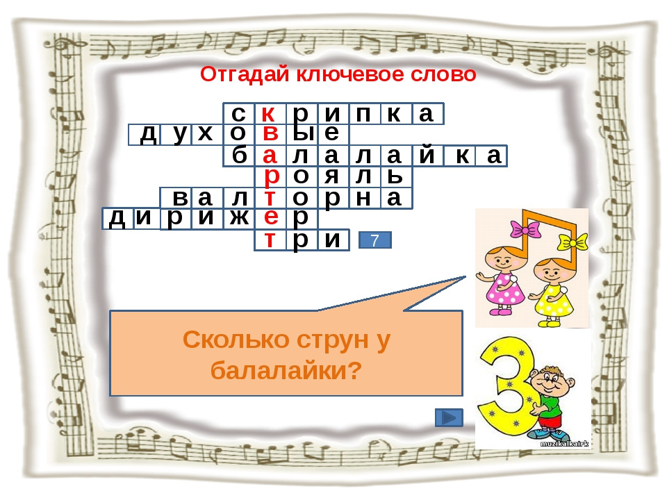 Отгадай ключевое слово Сколько струн у балалайки? 7 с к р и п к а д у х о в ы...