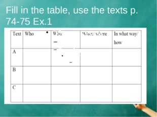 Fill in the table, use the texts p. 74-75 Ex.1