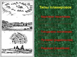Типы планировок 1. Круговое поселение. Начало III – первая четверть II тысяче