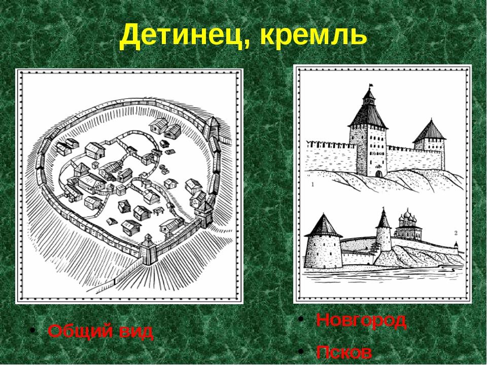 Детинец, кремль Новгород Псков Общий вид