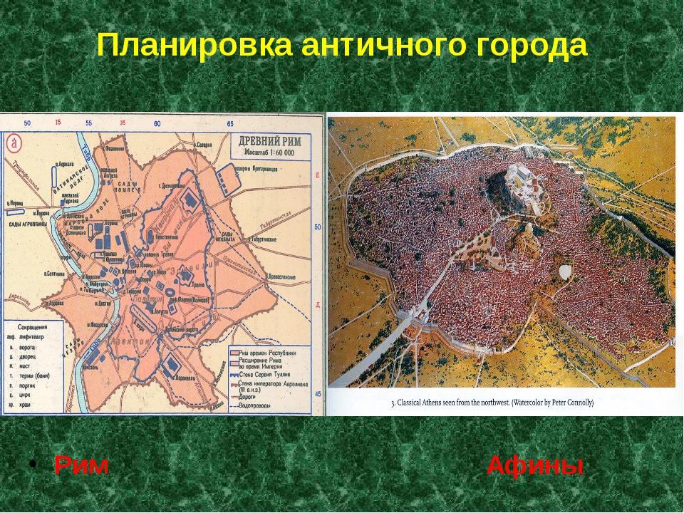 Планировка античного города Рим Афины