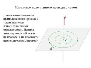 Линии магнитного поля прямолинейного провода с током являются концентрическим