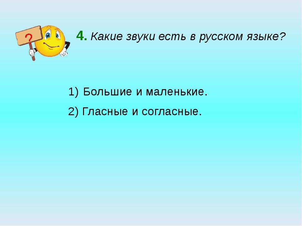 4. Какие звуки есть в русском языке? Большие и маленькие. 2) Гласные и соглас...