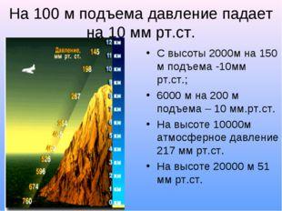 На 100 м подъема давление падает на 10 мм рт.ст. С высоты 2000м на 150 м подъ