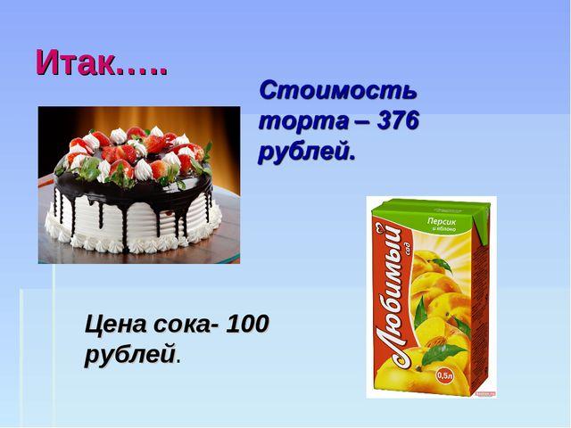 Итак….. Цена сока- 100 рублей.