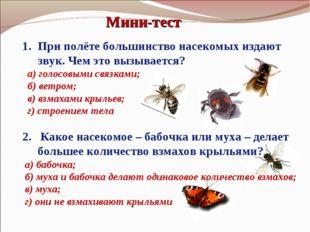 Мини-тест При полёте большинство насекомых издают звук. Чем это вызывается? а