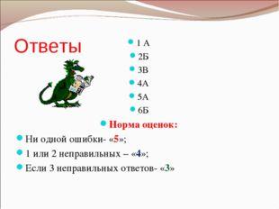 Ответы 1 А 2Б 3В 4А 5А 6Б Норма оценок: Ни одной ошибки- «5»; 1 или 2 неправи