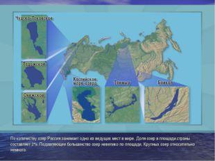 По количеству озер Россия занимает одно из ведущих мест в мире. Доля озер в п