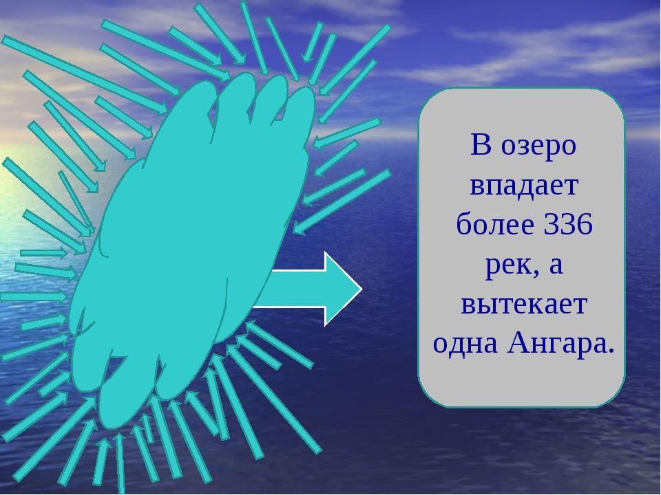 В озеро впадает более 336 рек, а вытекает одна Ангара.