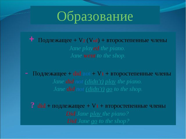 Образование + Подлежащее + V2 (Ved) + второстепенные члены Jane played the pi...
