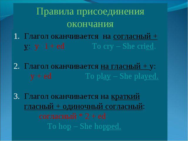 Правила присоединения окончания Глагол оканчивается на согласный + y: y i + e...