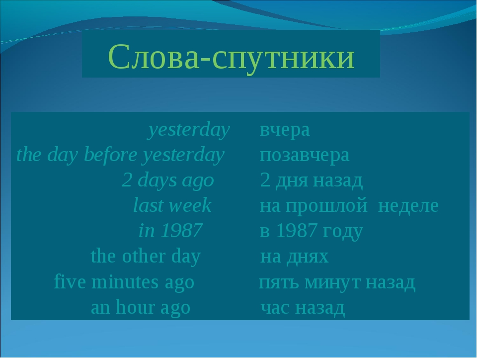 Слова-спутники  yesterday вчера the day before yesterday позавчера  2 d...