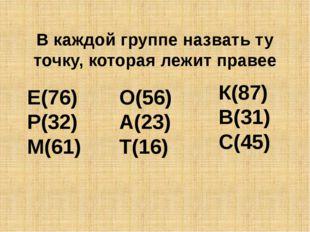В каждой группе назвать ту точку, которая лежит правее Е(76) Р(32) М(61) О(56