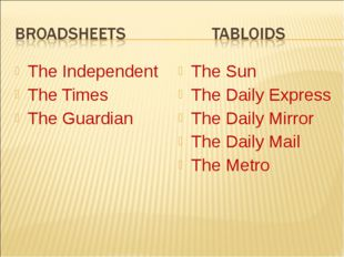 The Independent The Times The Guardian The Sun The Daily Express The Daily Mi