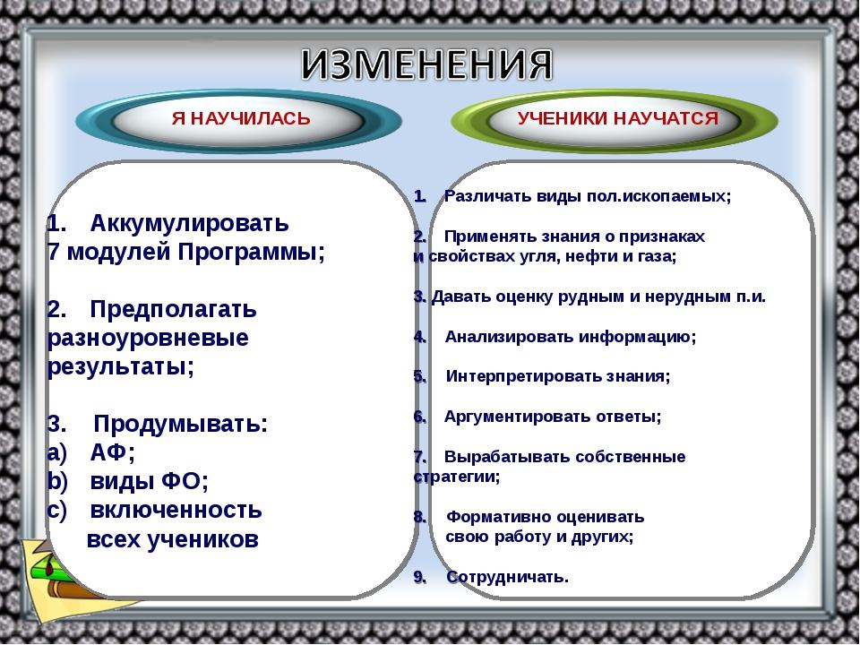 Аккумулировать 7 модулей Программы; Предполагать разноуровневые результаты; 3...