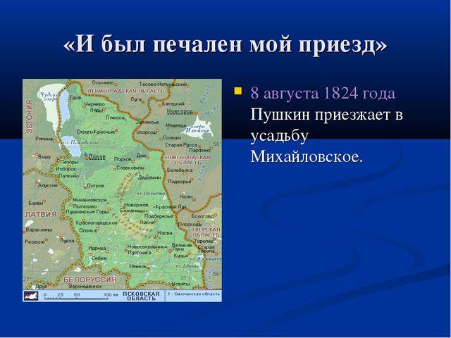 «И был печален мой приезд» 8 августа 1824 года Пушкин приезжает в усадьбу Мих...