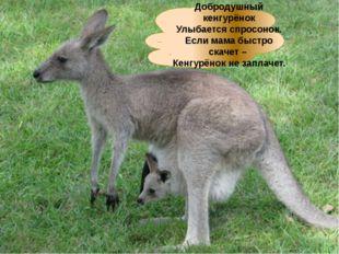 Добродушный кенгурёнок Улыбается спросонок. Если мама быстро скачет – Кенгурё