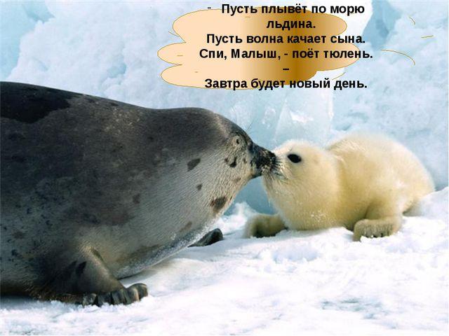 Пусть плывёт по морю льдина. Пусть волна качает сына. Спи, Малыш, - поёт тюл...