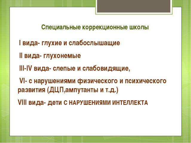 Специальные коррекционные школы I вида- глухие и слабослышащие II вида- глухо...