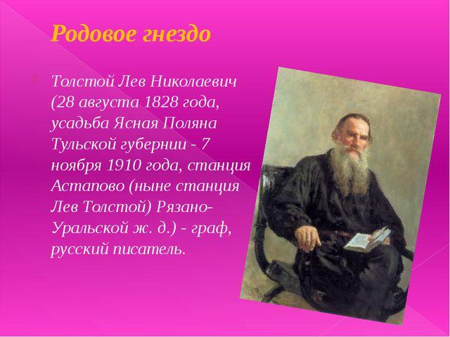 Родовое гнездо Толстой Лев Николаевич (28 августа 1828 года, усадьба Ясная По...