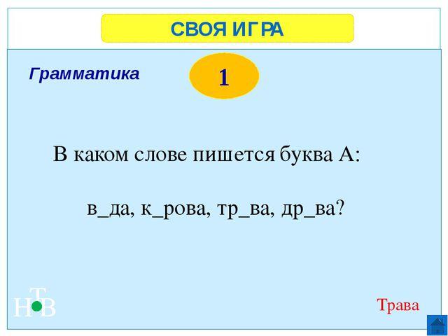 СВОЯ ИГРА Н Т В 1 Черное море, Красное море, Белое море, Желтое море Назови «...