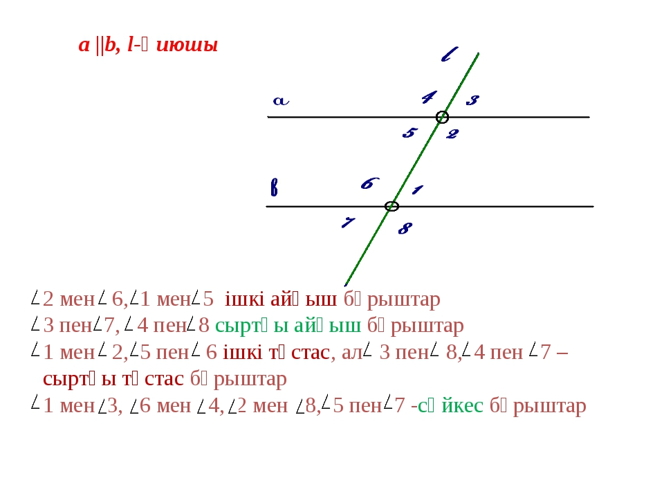 a   b, l-қиюшы 2 мен 6, 1 мен 5 ішкі айқыш бұрыштар 3 пен 7, 4 пен 8 сыртқы а...