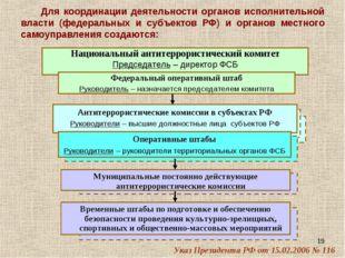 * Для координации деятельности органов исполнительной власти (федеральных и с