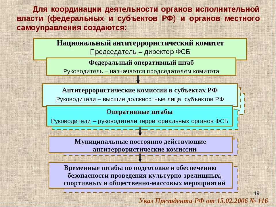 * Для координации деятельности органов исполнительной власти (федеральных и с...