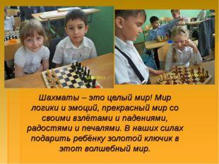 Шахматы – это целый мир! Мир логики и эмоций, прекрасный мир со своими взлёта