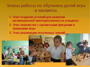 Этапы работы по обучению детей игре в шахматы. 1. Этап создания условий для р