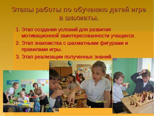 Этапы работы по обучению детей игре в шахматы. 1. Этап создания условий для р...