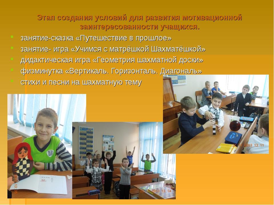 Этап создания условий для развития мотивационной заинтересованности учащихся....