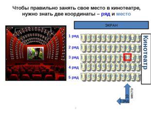 * Чтобы правильно занять свое место в кинотеатре, нужно знать две координаты