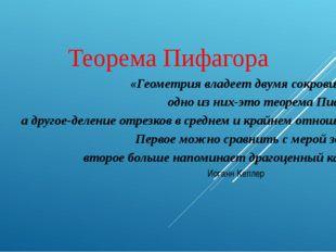 Теорема Пифагора «Геометрия владеет двумя сокровищами: одно из них-это теорем
