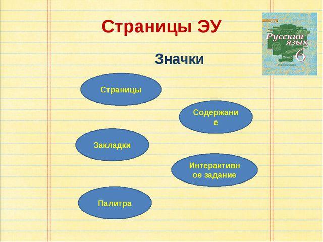Страницы ЭУ Значки Страницы Содержание Закладки Интерактивное задание Палитра